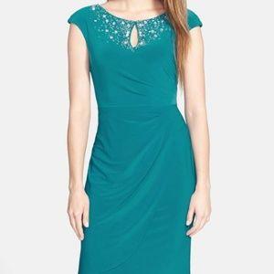NEW Alex Evenings Beaded Jersey Teal Dress